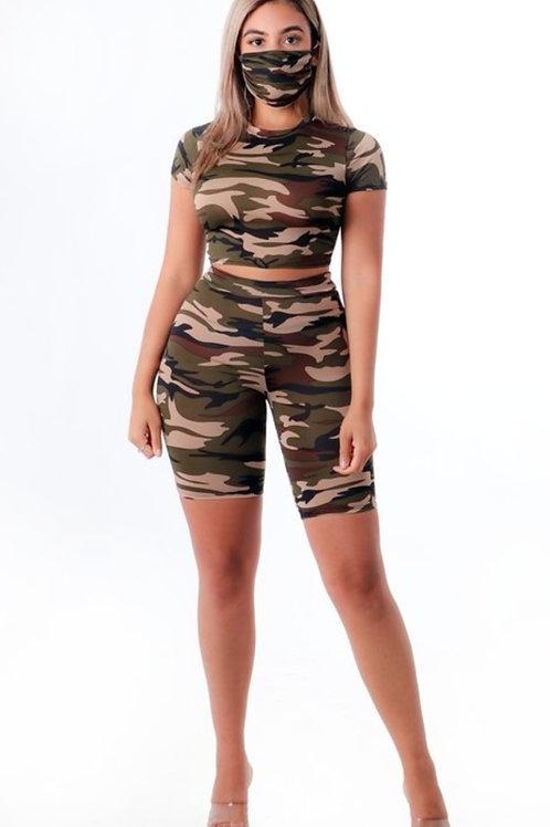 Army Girl Short Set