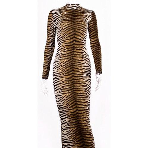 Tiger Print Long Sleeve Midi Bodycon Dress