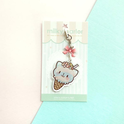 Cotton Candy Cat Keychain