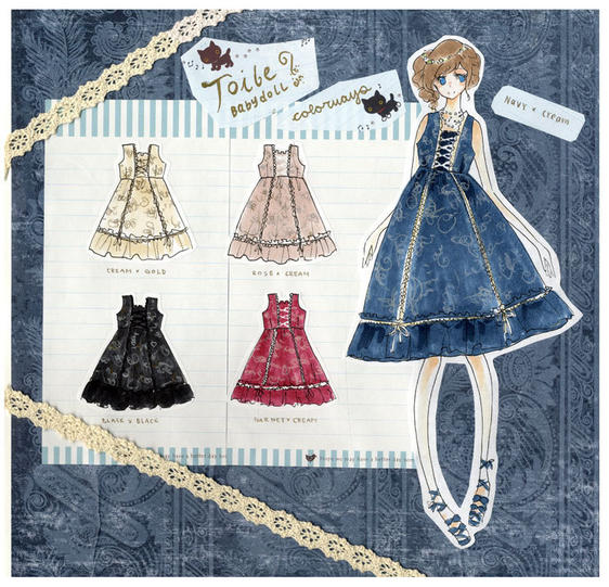 Tea Party Dress Illustration and Colorways