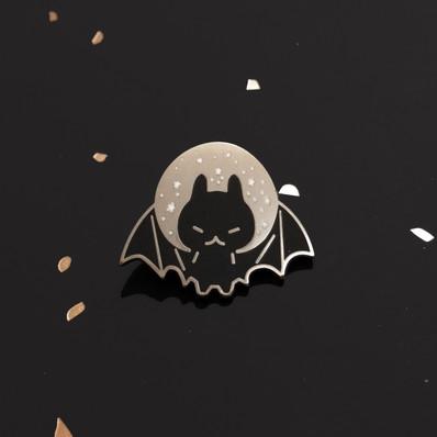 Bat Moon Enamel Pin