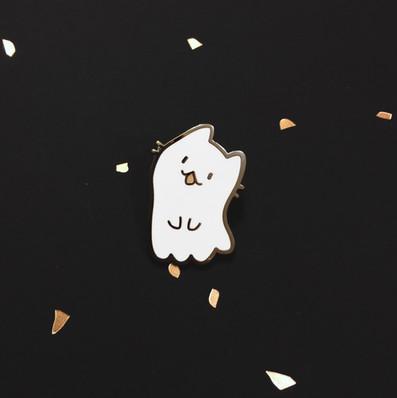 Ghost Cat Enamel Pin