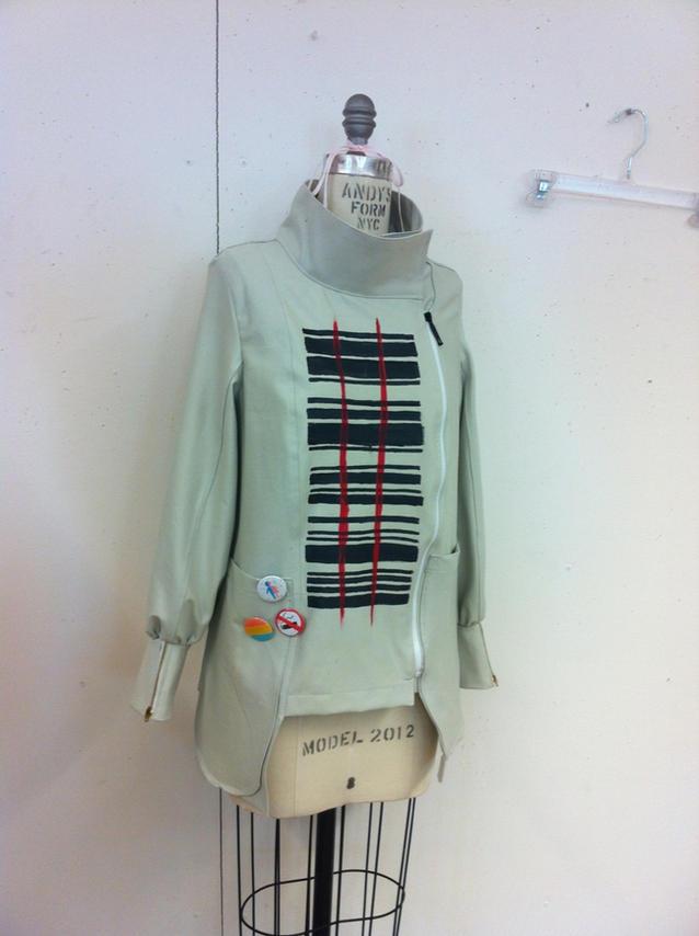 Barcode Asymmetrical Zipper Jacket