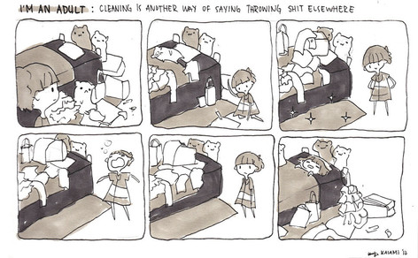 Im an Adult: cleaning is another way of saying throwing shit elsewhere
