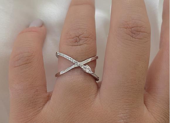טבעת כסף  איקס שילוב טיפה