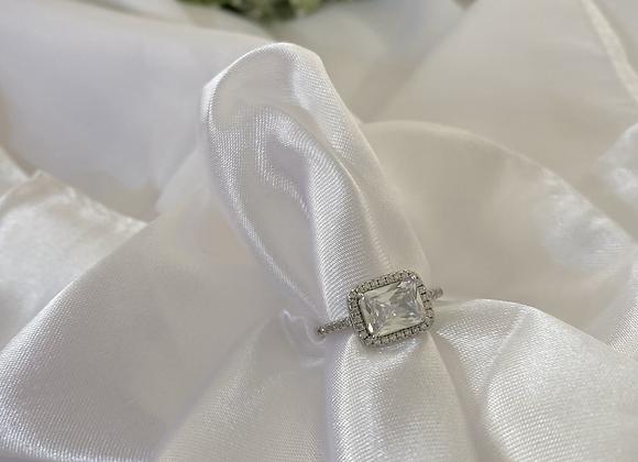 טבעת כסף מלבנית קלאסית ניו