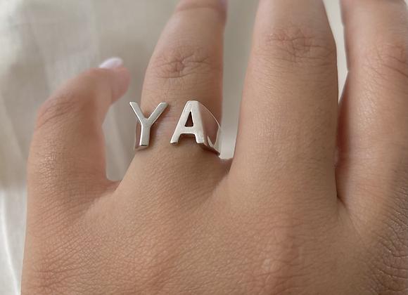 עותק של טבעת שתי אותיות ניו חלק
