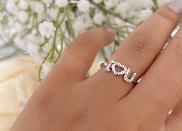 טבעת אי לאב יו משובצת
