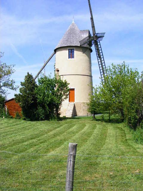 front of windmill