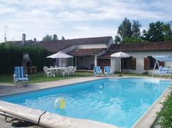 pool and farmhouse