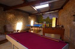 games room at farmhouse rental