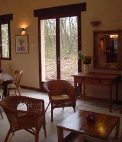 indoor sitting area of gite