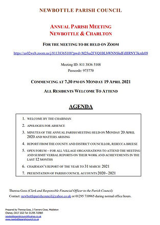 Annual Parish Meeting Agenda 19 04 2021.