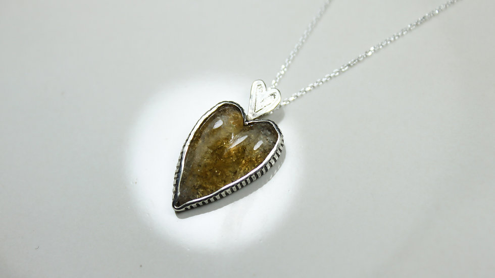 Heart Pendant - Citrine (Small) - Silver 925°