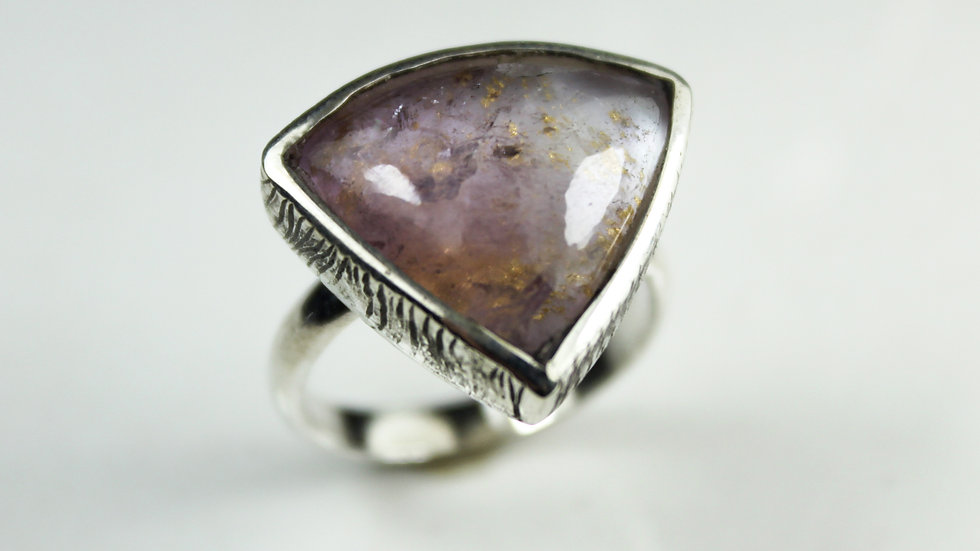 Amethyst & MOP with Golden Leaf 24K - Silver 925° Ring