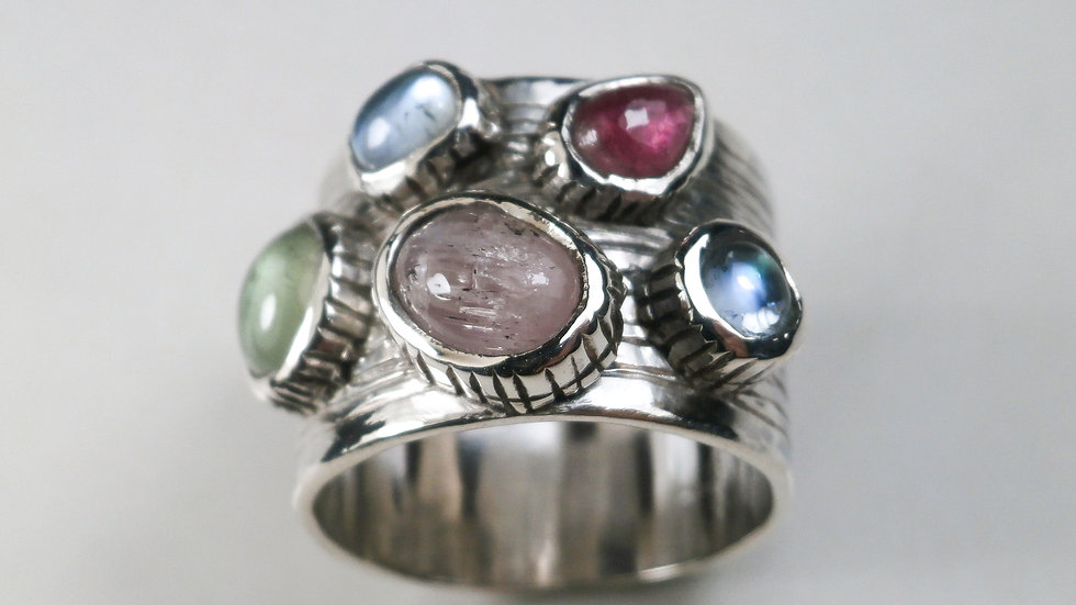 Precious Ring -Natural gemstones - Sterling Silver 925°