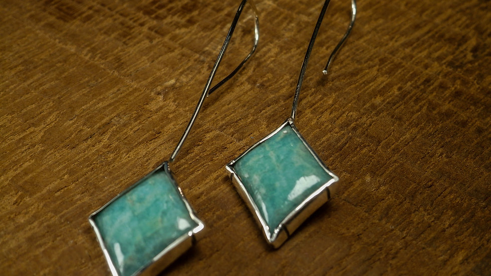 """Summer Romance"" earrings - Amazonite - Silver 925°"