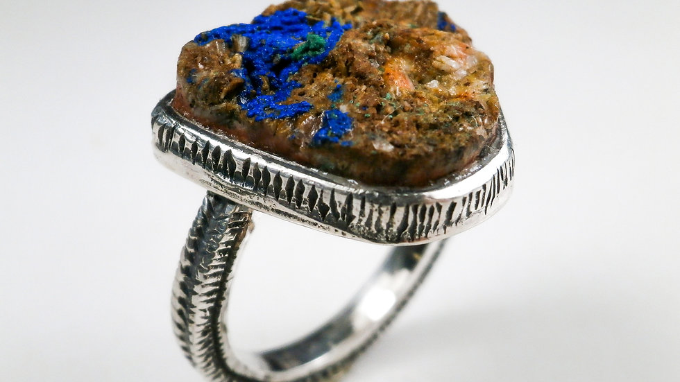 Raw Azurite Ring - Silver 925°