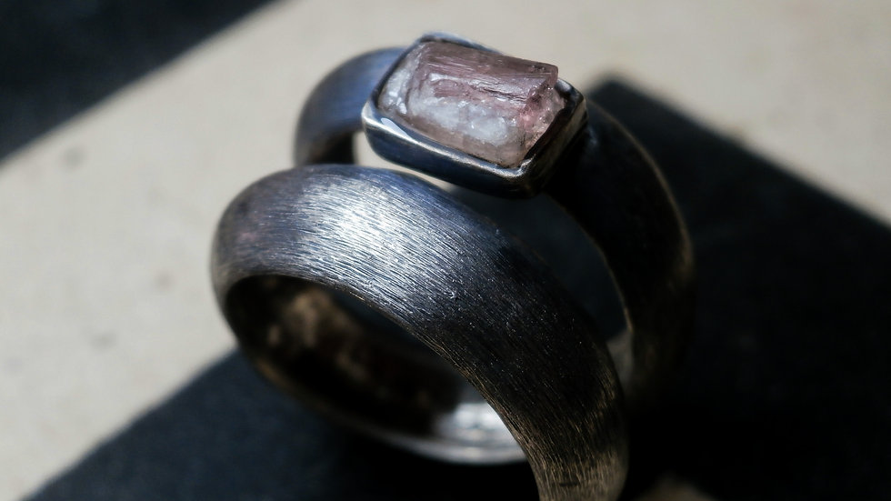Raw Pink Tourmaline - Oxidized Sterling Silver Ring