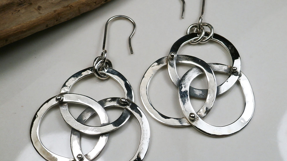 """three cycles"" earrings Sterling Silver 925°"