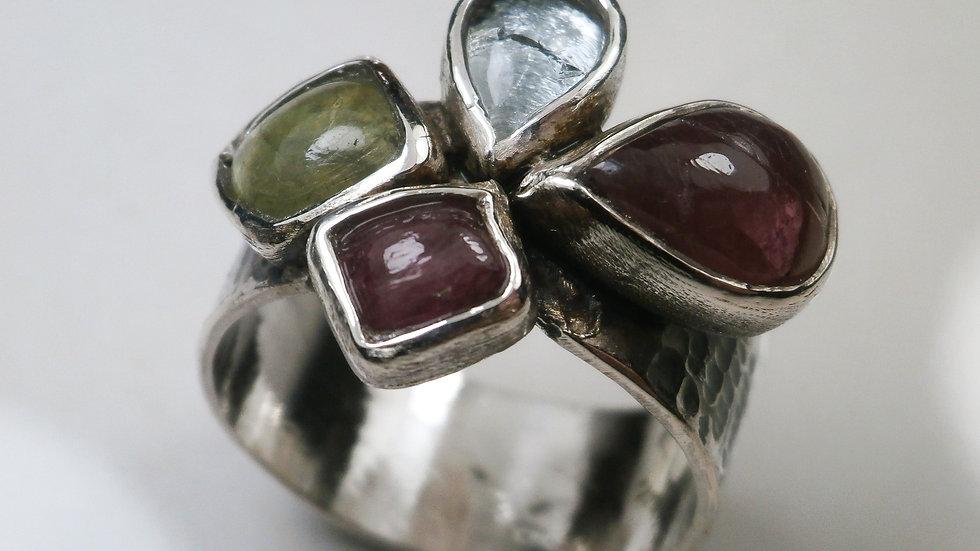 Tourmaline, Aquamarine, Peridot - Silver 925° Ring