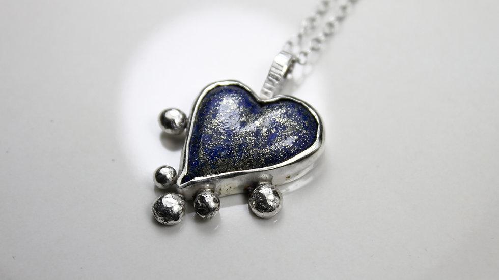 Heart Pendant - Lapis Lazuli (Large) - Silver 925°
