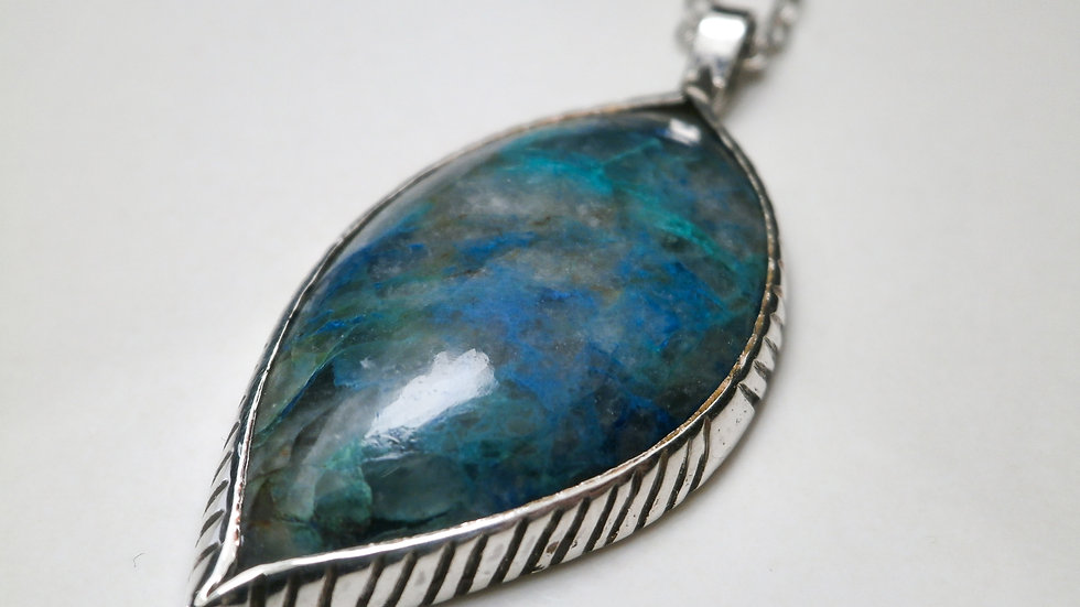 Pendant with natural chrysocolla- Silver 925°