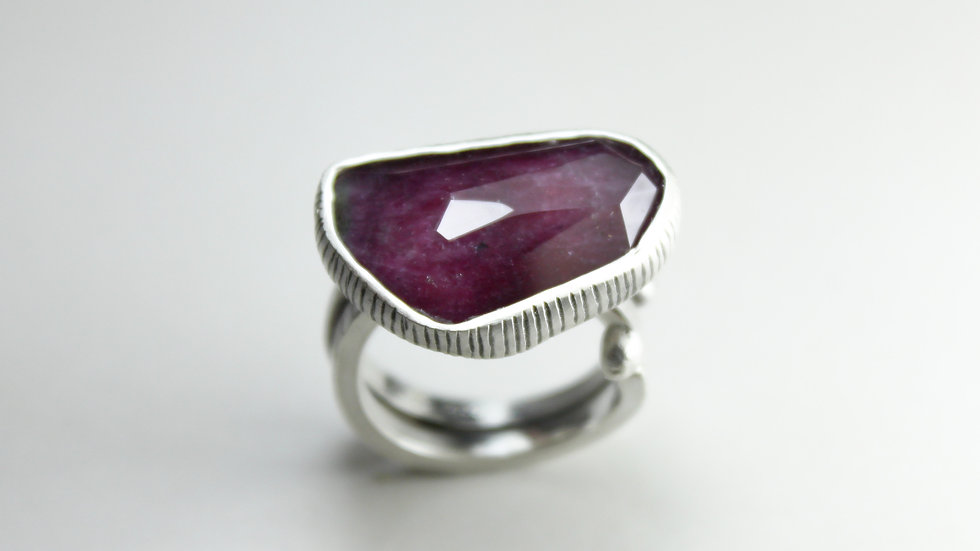 Faceted RUBY & QUARTZ Ring - Silver 925°