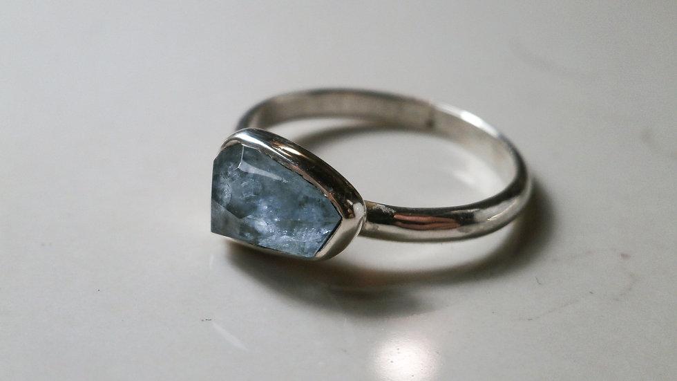 Aquamarine ctystal Ring - Silver 925°