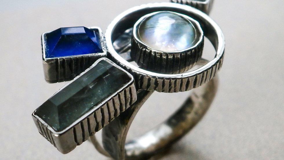Lapis Lazuli, Aventurine, MOR (Mother of Pearl) open Ring - Silver 925°