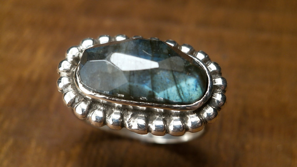 Labradorite Granule Ring - Silver 925°