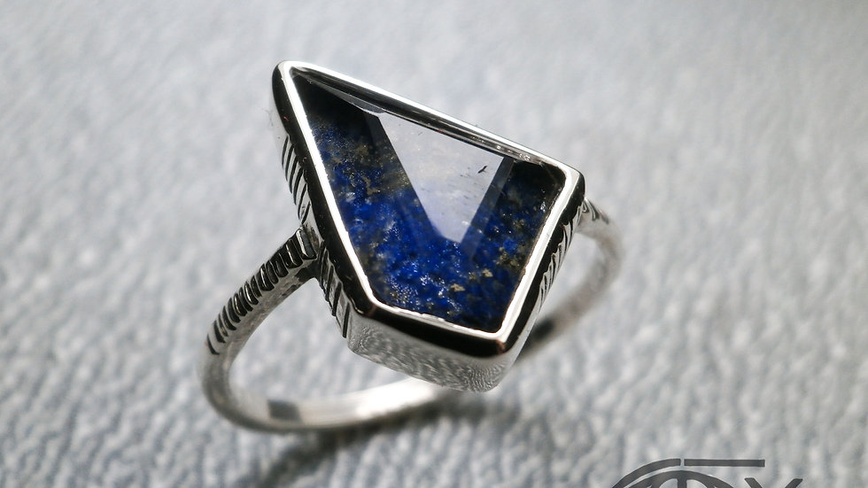 Thin Ring With Natural Gemstone:Lapis lazuli, Quartz - Silver 925°