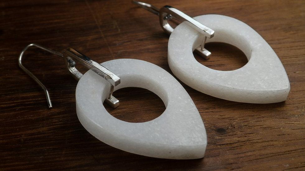 Minimal marble drops earrings - Sterling Silver 925°