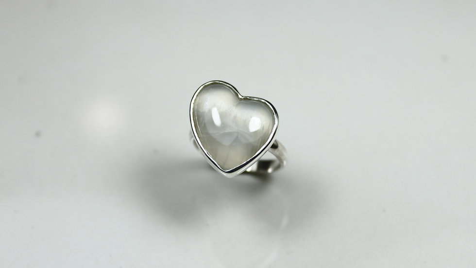 Heart Ring - Moonstone (Small) - Silver 925°