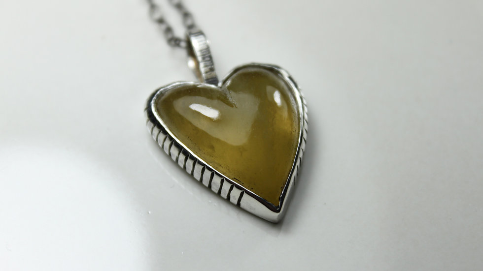 Heart Pendant - Yellow fluorite(Large) - Silver 925°