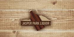 Jasper Park Liquor Logo long wood background