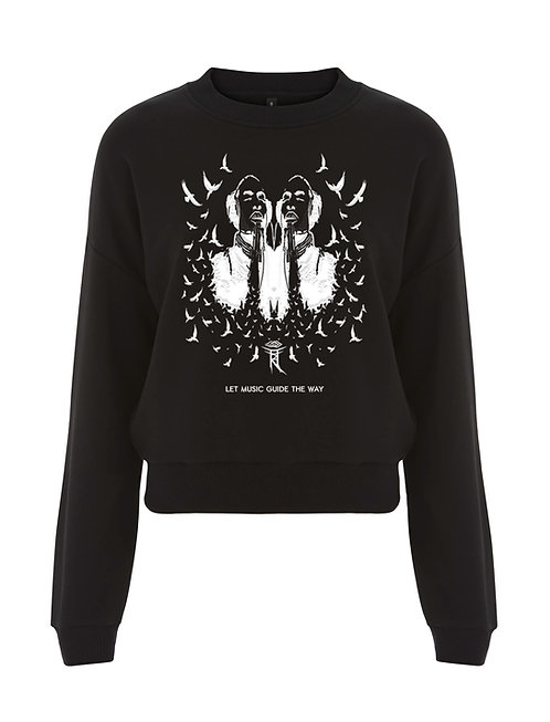 LET MUSIC GUIDE THE WAY LADIES CROPPED SWEATSHIRT