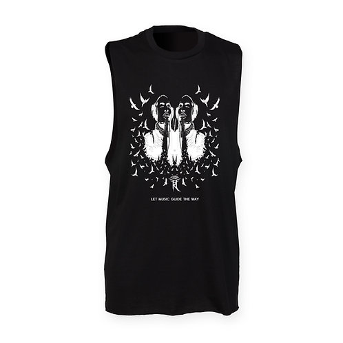 LET MUSIC GUIDE THE WAY MENS BLACK TANK