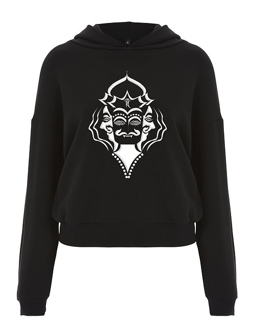 TERRIFYING ROAR LADIES CROPPED PULLOVER HOODIE