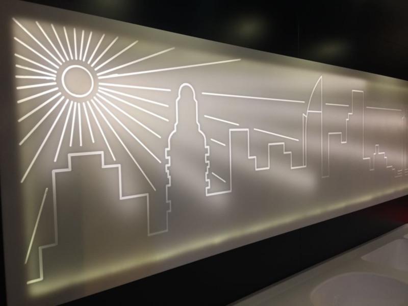 Projeto de Iluminação com Superfície Sólida Acrílica Durasein com faixas de LED