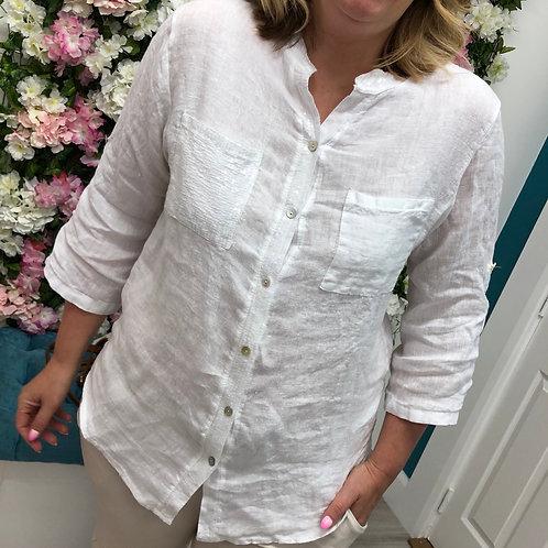 Carla linen flamingo shirt