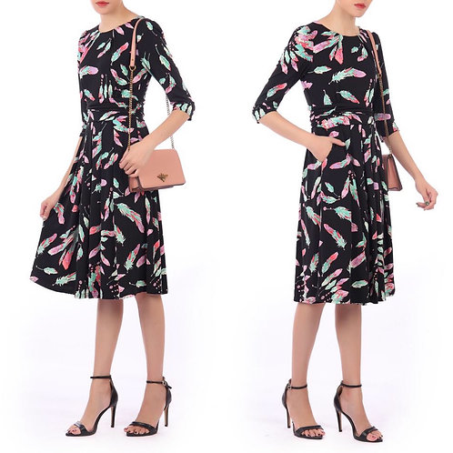 3/4 Sleeve Feather Multi Dress