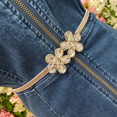 Sheena Elasticated belt Silver Flower
