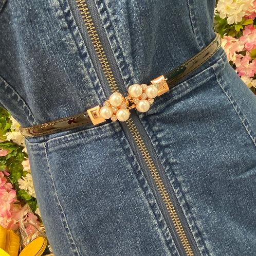 Kelly Adjustable Pearl Buckle Belt