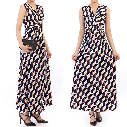 Twist Front Navy Multi Dress