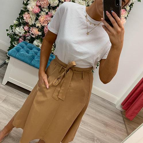 Paper bag waist skirt beige