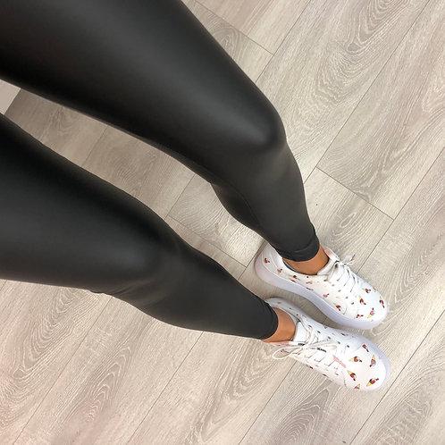 Plain leather look leggings black/navy