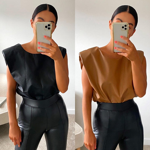 Katie Faux Leather Top in Black / Tan