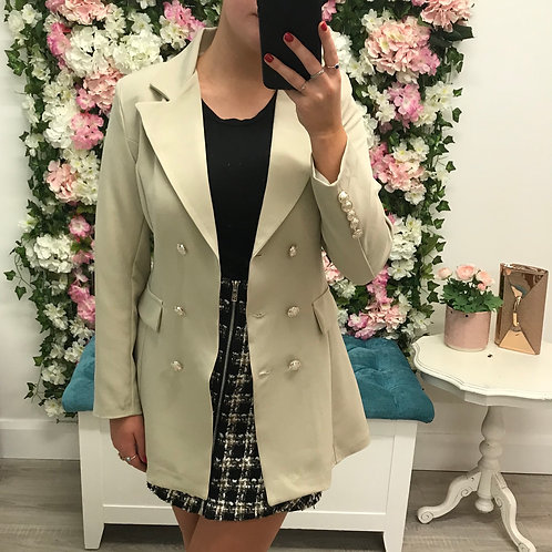 Catherine Blazer in stone / blush