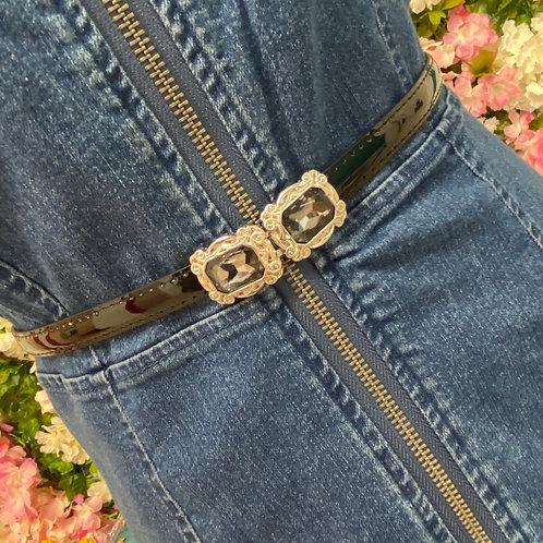 Kelly Adjustable Silver buckle belt